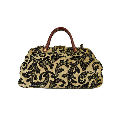Doctor's Bag - Gold  with Black Leaves (Back View)
