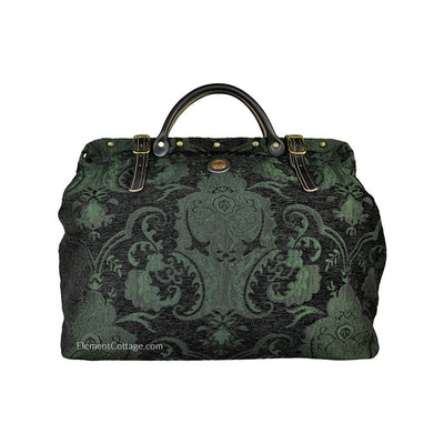 Large Victorian Traveler Carpetbag - Black and Emerald