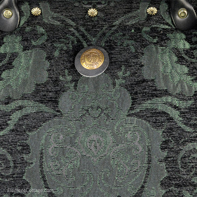 Large Victorian Traveler Carpetbag - Black and Emerald (Close up)