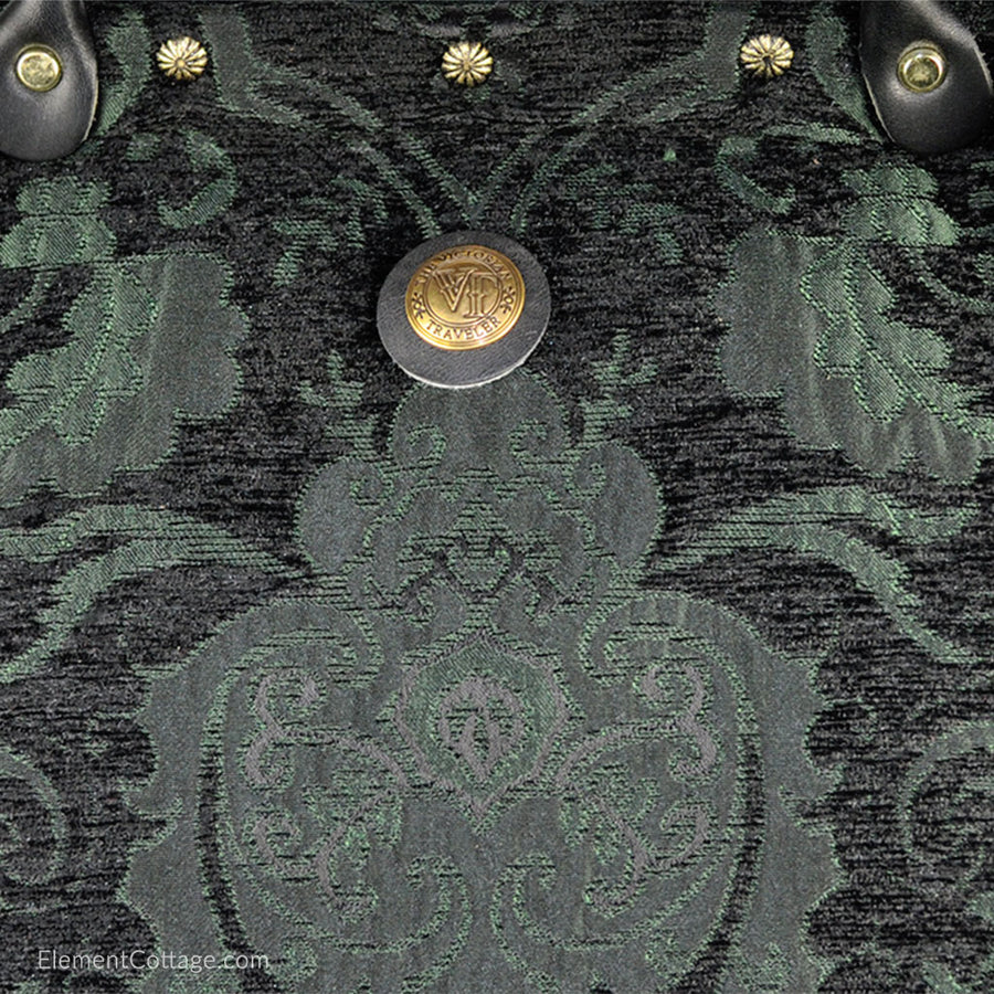 Large Victorian Traveler Carpet Bag - Black and Emerald