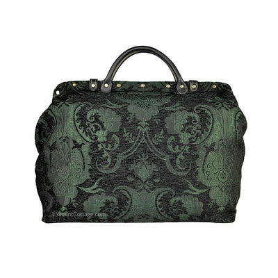 Large Victorian Traveler Carpetbag - Black and Emerald (Back View)