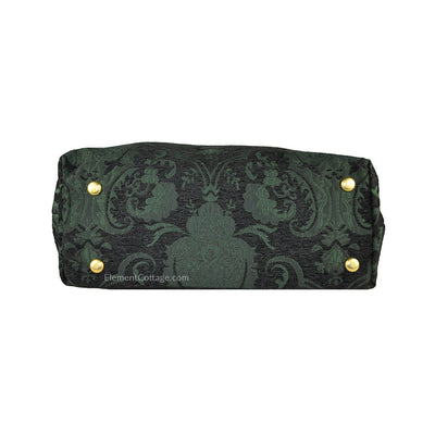 Large Victorian Traveler Carpetbag - Black and Emerald (Bottom View)