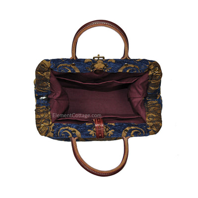 Small Victorian Traveler Handbag - Blue Danube (Inside View)