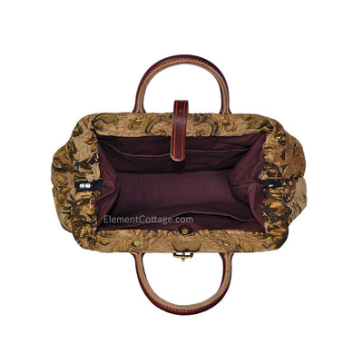 Small Victorian Traveler Handbag - Dark Gold (Inside View)