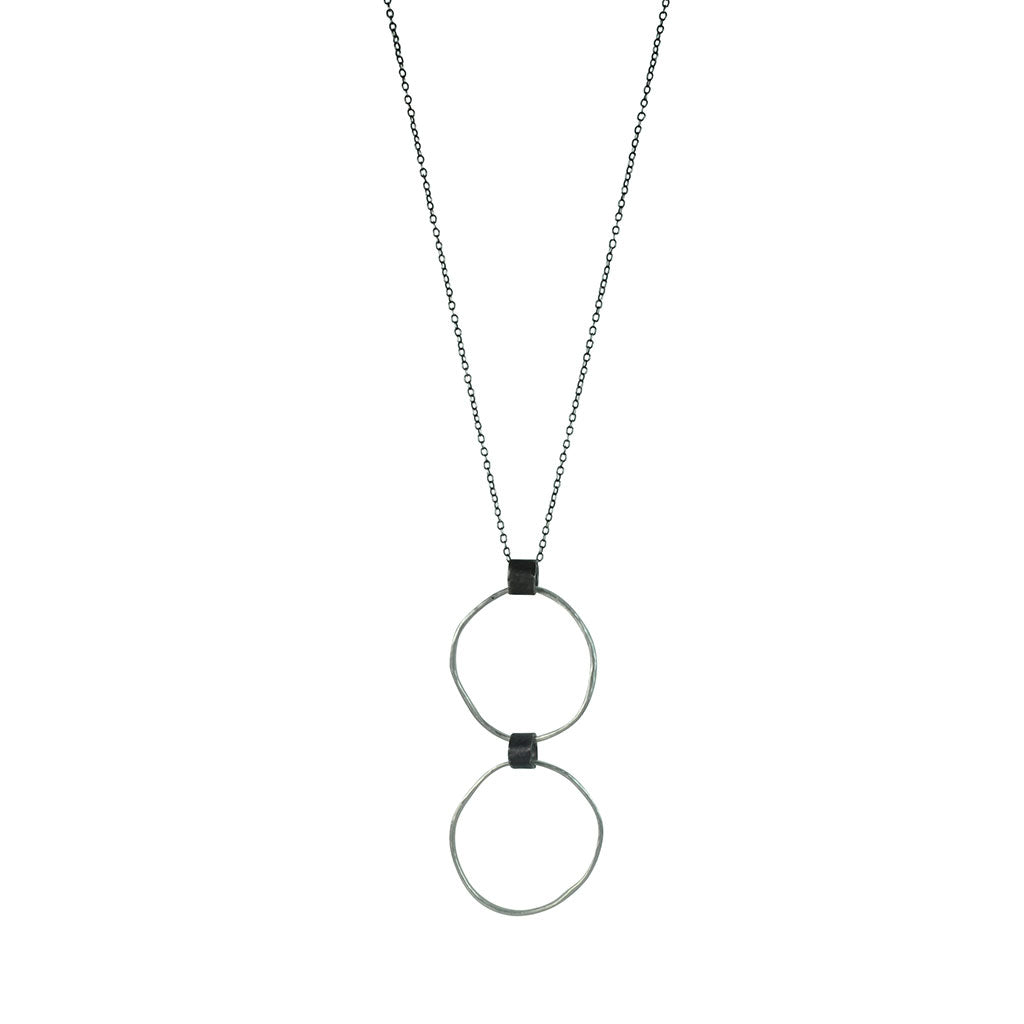Black Linx Medium Double Hoop Necklace