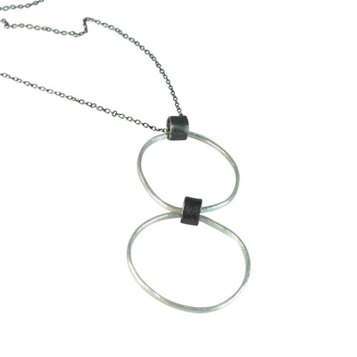Black Linx Medium Double Hoop Necklace (Close Up)