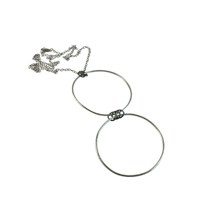Black Linx Large Double Hoop Necklace with Rings (Close Up)