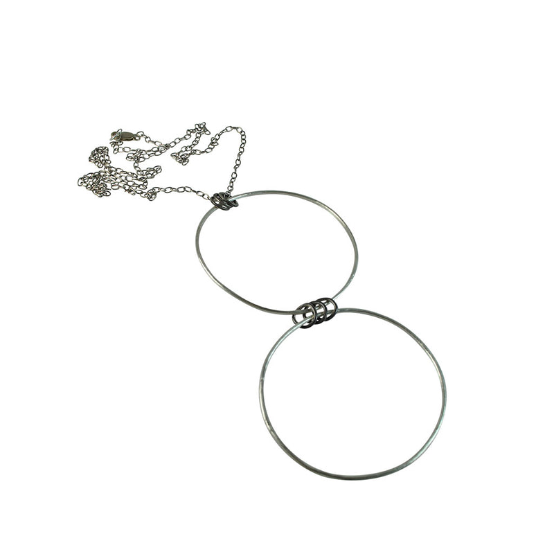 Black Linx Large Double Hoop Necklace with Rings