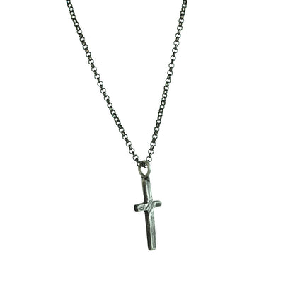 Small Stone Cross Necklace (Side View)