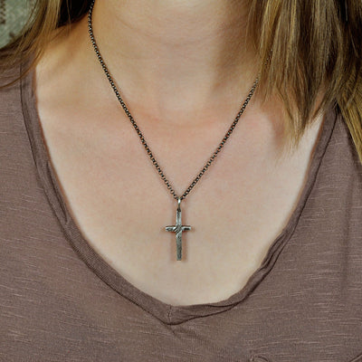 Small Stone Cross Necklace (On Model)
