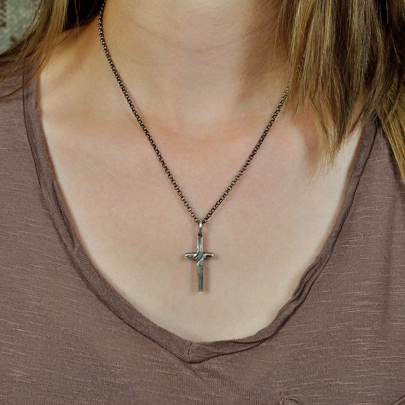Small Stone Cross Necklace (Front View)