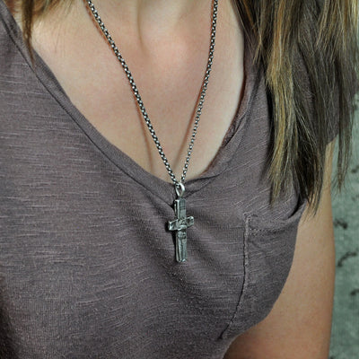 Medium Stone Cross Necklace (On Model)