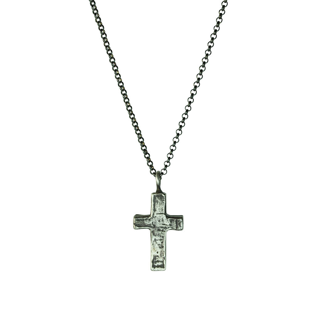 Large Stone Cross Necklace (Front View)