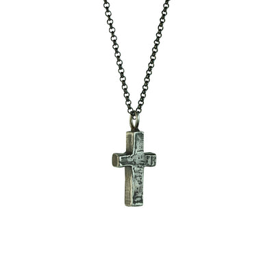 Large Stone Cross Necklace (Side View)