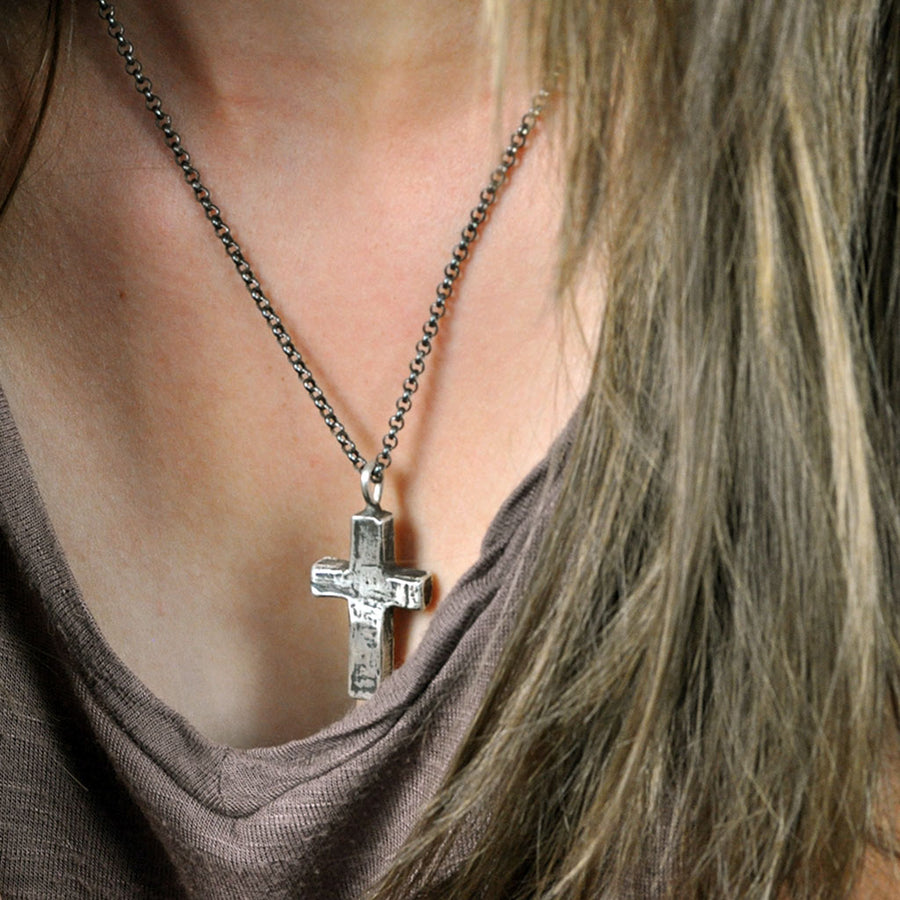 Large Stone Cross Necklace