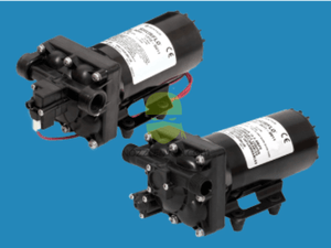 12V Bypass Diaphragm Pump with maximum 5.3 GPM (20.1 LPM) and 90 PSI (6.2 bar).