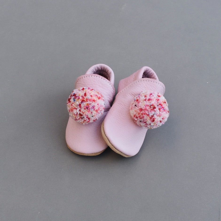 leather pompom shoes - POPSICLE