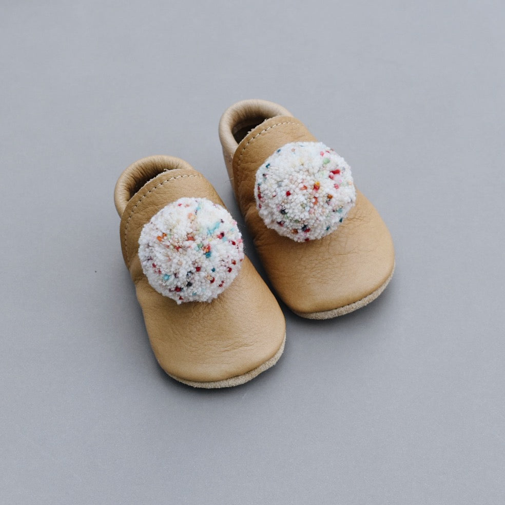 PRE-ORDER Leather Pompom Shoes - sand confetti