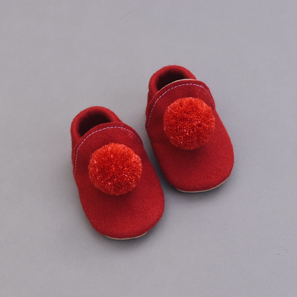 Wool Pompom Shoes - red
