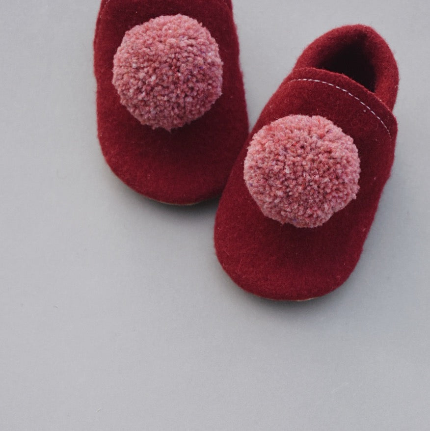 Wool Pompom Shoes - mulberry