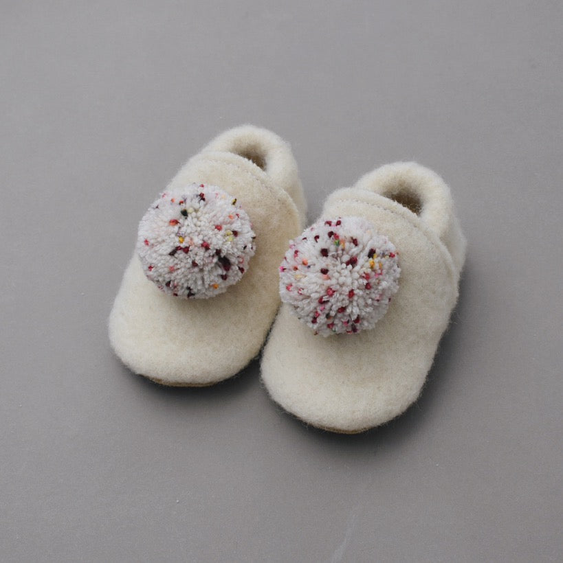 Wool Pompom Shoes - candy cane