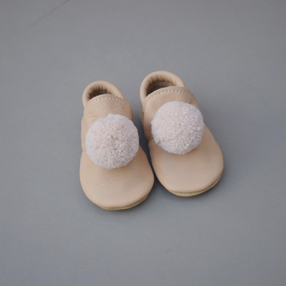 Leather Pompom Shoes - no.31  (ready to ship)