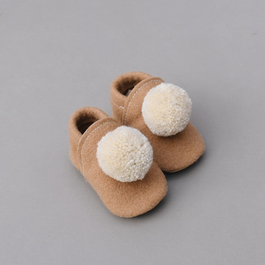 wool pompom shoes - camel