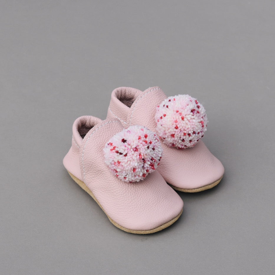 leather Pompom Shoes - blush