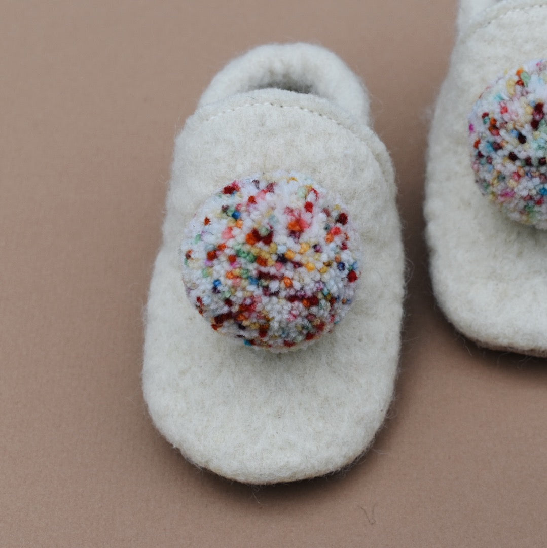 wool pompom shoes - cream