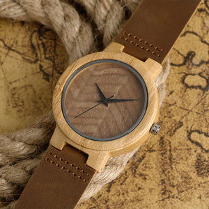 Bamboo Wood Watch with Natural Wood Pattern