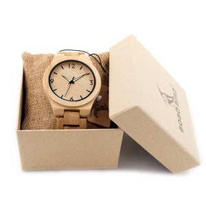 Natural All Bamboo Wood Classic Men's Watch