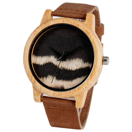 Bamboo Wood Watch with Black Wave Design
