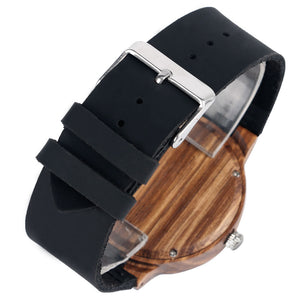 Unique Wood Watch with Leather Strap