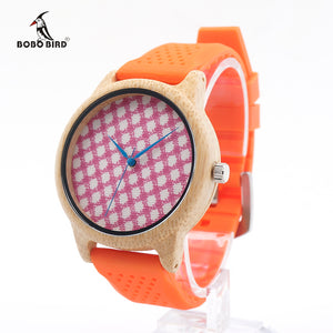 Bamboo Wood Watch With Colorful Silicone Strap and Face
