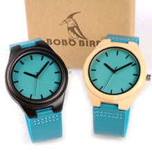 Bamboo Wooden Watch With Blue Leather Band in Bamboo or Ebony