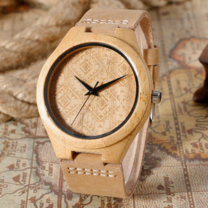 Bamboo Wood Watch with Aztec Pattern