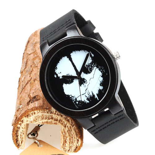Cool Skull Wooden Watch for Men with Leather Band