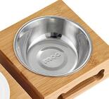 Double Water Bowls with Stainless Steel And Bamboo Frame