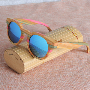 Colorful Bamboo Sunglasses With Polarized Lens