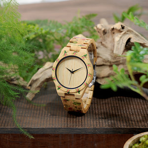 Flower Print Band Bamboo Watch
