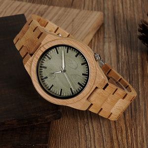 Men's Bamboo Watch with Green Face