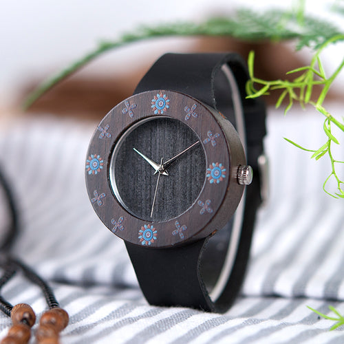 Womens Ebony Vintage Wooden Watch With Flower Print