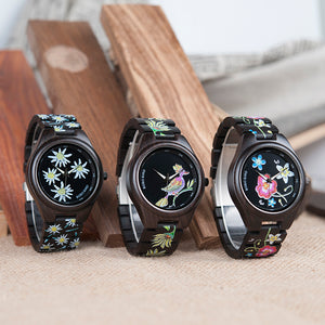 Print Wood Watch in Daisy, Bird or Colorful Flower Design