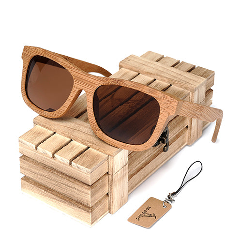 Vintage Bamboo Wooden Sunglasses  Polarized Mirror Coating in Multiple Lens Color Choices