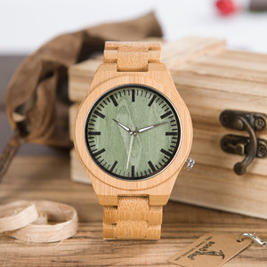 Men's Luminous Hands Green Dial Quartz Wooden Bamboo Watch