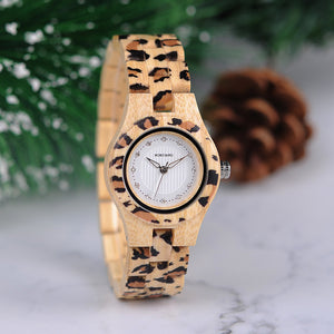 Leopard Lovers Ladies Bamboo Watch