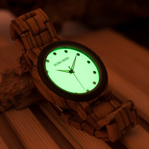 Luminous Dial Face Men's Wooden Watch with Zebra or Ebony Wood Strap