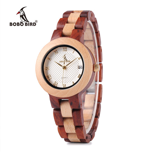 Two-tone  Wooden Watch for Women with 2 Band Options