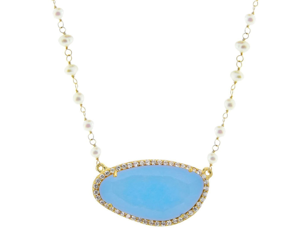 Blue Quartz & Pearls Necklace - House of Fine Gold