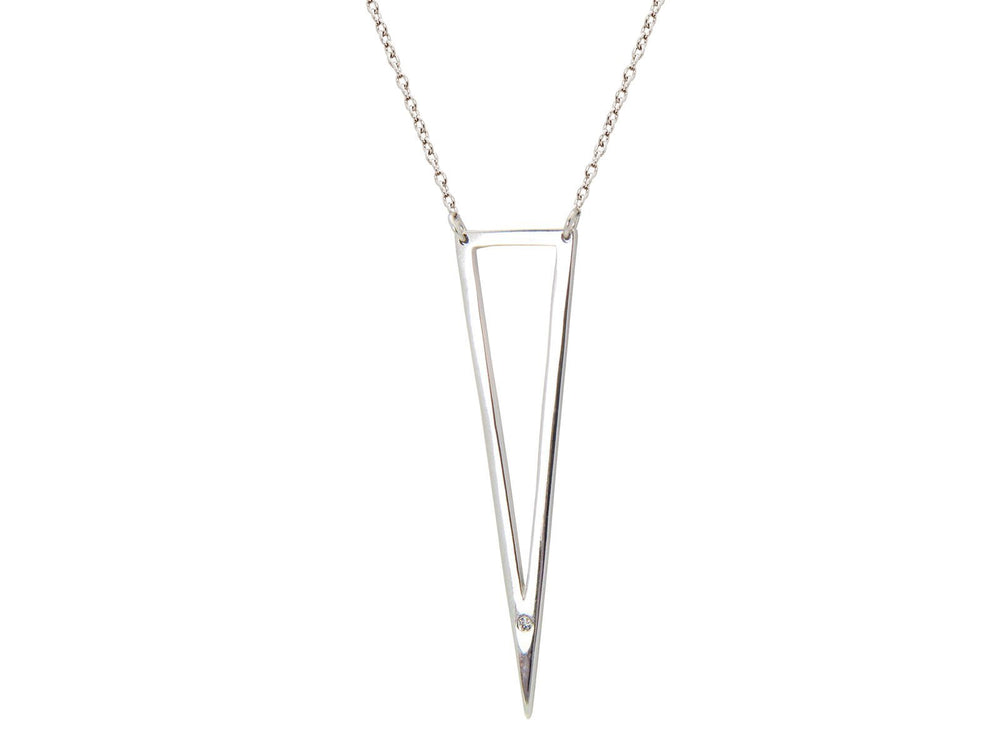 Open Triangle Cz Pendant Necklace